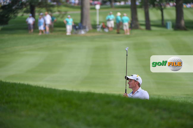 Paul Dunne (IRL) watches his shot from the trap on 2 during 2nd round of the World Golf Championships - Bridgestone Invitational, at the Firestone Country Club, Akron, Ohio. 8/3/2018.<br /> Picture: Golffile | Ken Murray<br /> <br /> <br /> All photo usage must carry mandatory copyright credit (© Golffile | Ken Murray)