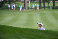 Paul Dunne (IRL) watches his shot from the trap on 2 during 2nd round of the World Golf Championships - Bridgestone Invitational, at the Firestone Country Club, Akron, Ohio. 8/3/2018.<br />