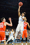 02 APR 2016: Guard Joel Berry III (2) of the University of North Carolina shoots over Forward Tyler Lydon (20) of Syracuse University during the 2016 NCAA Men's Division I Basketball Final Four Semifinal game held at NRG Stadium in Houston, TX. North Carolina defeated Syracuse 83-66 to advance to the championship game.  Brett Wilhelm/NCAA Photos