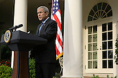 Washington, DC - June 26, 2008 -- United States President George W. Bush speaks to the media at the Rose Garden of the White House June 26, 2008 in Washington, DC. Bush made a statement in response to the nuclear declaration of North Korea.  .Credit: Alex Wong / Pool via CNP