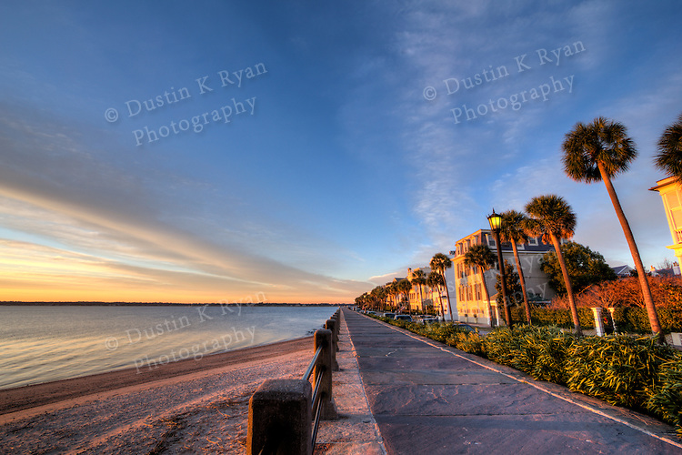 Charleston East Battery Street Battery Row Sunrise Downtown Charleston South Carolina Waterfront Colorful Sky winter 2010