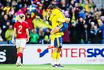 ****BETALBILD**** <br /> Stockholm 2015-04-08 Fotboll Landskamp Damer , Sverige - Danmark :  <br /> Sveriges Caroline Seger firar sitt 3-2 m&aring;l med Malin Diaz Petterson under matchen mellan Sverige och Danmark <br /> (Photo: Kenta J&ouml;nsson) Keywords:  Sweden Sverige Denmark Danmark Landskamp Dam Damer Tele2 Arena Stockholm  jubel gl&auml;dje lycka glad happy