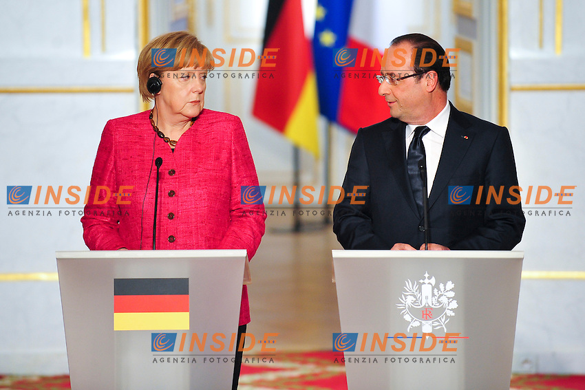 Angela Merkel -  Cancelliere Germania  e  Francois Hollande Presidente della Repubblica francese  <br /> Parigi 30/5/2013 Eliseo <br /> Vertice tra il Presidente della Repubblica francese e il Cancelliere tedesco<br /> Foto JB Autisser / Panoramic / Insidefoto