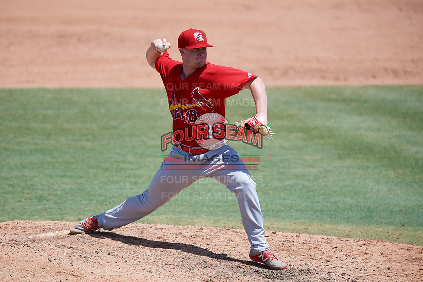 Palm Beach Cardinals relief pitcher Mike O'Reilly (33) delivers a pitch during a game against the Jupiter Hammerheads on August 5, 2018 at Roger Dean Chevrolet Stadium in Jupiter, Florida.  Jupiter defeated Palm Beach 3-0.  (Mike Janes/Four Seam Images)