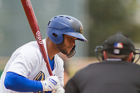 Rancho Cucamonga Quakes Hamlet Marte (50) at bat against the Modesto Nuts at LoanMart Field on May 2, 2018 in Rancho Cucamonga, California. The Nuts defeated the Quakes 11-4.  (Donn Parris/Four Seam Images)