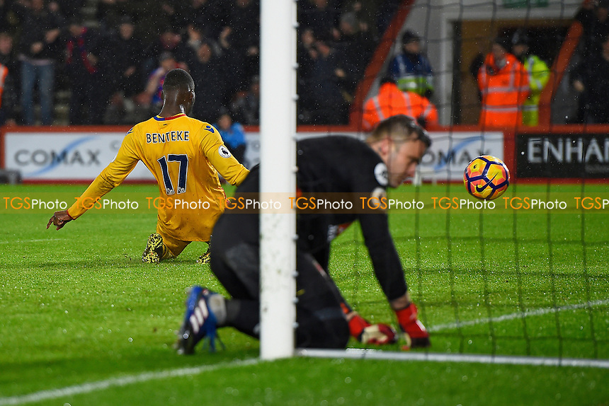 Christian Benteke celebrates scoring the second goal as AFC Bournemouth keeper Artur Boruc digs the ball out of the net during AFC Bournemouth vs Crystal Palace, Premier League Football at the Vitality Stadium on 31st January 2017