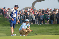 25th January 2020, Torrey Pines, La Jolla, San Diego, CA USA;  Chris Baker and his caddie line up a tee shot during round 3 of the Farmers Insurance Open at Torrey Pines Golf Club on January 25, 2020