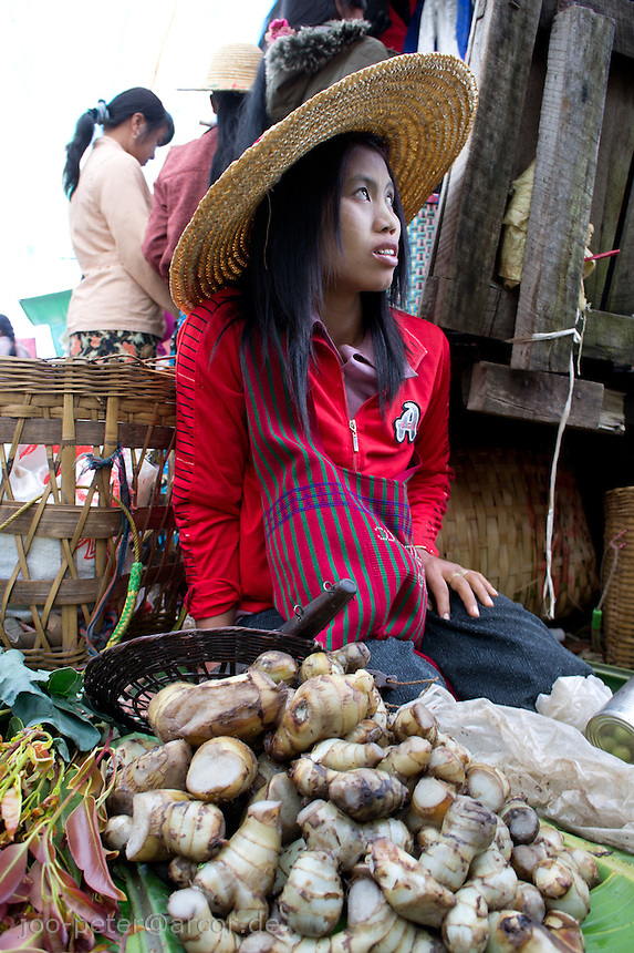 woman at market in village  Nyaungshwe close to  Inle Lake, Shan state,  Myanmar, 2011