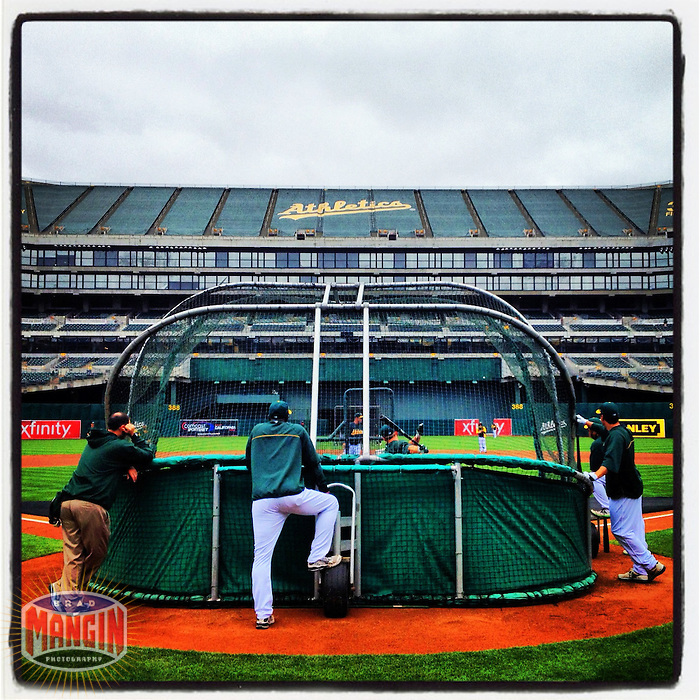 OAKLAND - MAY 27: Instagram of the Oakland Athletics taking batting practice before the game against New York Yankees at O.co Coliseum on May 27, 2012 in Oakland, California. (Photo by Brad Mangin)