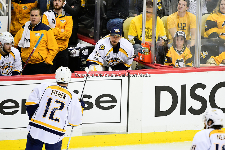 June 8, 2017: Nashville Predators goalie Pekka Rinne (35) sits on the bench after being taken out of the game at game five of the National Hockey League Stanley Cup Finals between the Nashville Predators  and the Pittsburgh Penguins, held at PPG Paints Arena, in Pittsburgh, PA. Pittsburgh defeats Nashville 6-0 to lead the series 3-2. Eric Canha/CSM