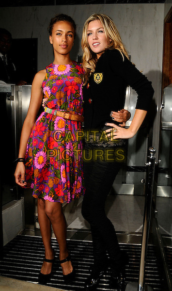 MICHELLE DE SWARTE & ABIGAIL CLANCEY.ITV2 Autumn Launch Party, The Roof Gardens, London, England. .August 19th, 2008 .full length abbey abby clancy black jacket hand on hip pink purple floral print dress green nail varnish polish.CAP/CAN.©Can Nguyen/Capital Pictures.