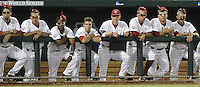 The South Carolina dugout sports rally caps during the tenth inning. South Carolina beat Virginia 3-2 in 13 innings at the College World Series on June 24, 2011 in Omaha, Neb. (Photo by Michelle Bishop)..