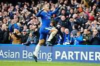 Eden Hazard of Chelsea celebrates his goal 1 1 during the Premier League match between Chelsea and Newcastle United at Stamford Bridge, London, England on 2 December 2017. Photo by David Horn.
