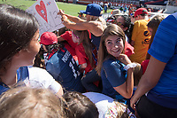 Santa Clara, CA - Sunday May 12, 2019: Fans attempt to take photos with Alex Morgan. The women's national teams of the United States (USA) and South Africa (RSA) play in an international friendly match at Levi's Stadium.