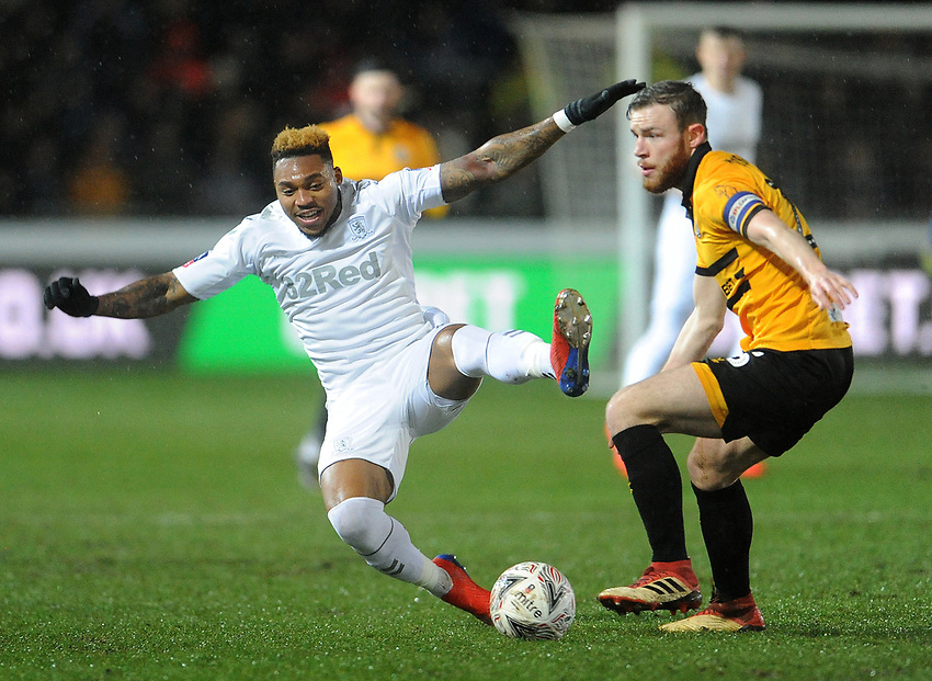 Middlesbrough's Britt Assombalonga fumbles and falls during the game<br /> <br /> Photographer Ian Cook/CameraSport<br /> <br /> Emirates FA Cup Fourth Round Replay - Newport County v Middlesbrough - Tuesday 5th February 2019 - Rodney Parade - Newport<br />  <br /> World Copyright © 2019 CameraSport. All rights reserved. 43 Linden Ave. Countesthorpe. Leicester. England. LE8 5PG - Tel: +44 (0) 116 277 4147 - admin@camerasport.com - www.camerasport.com