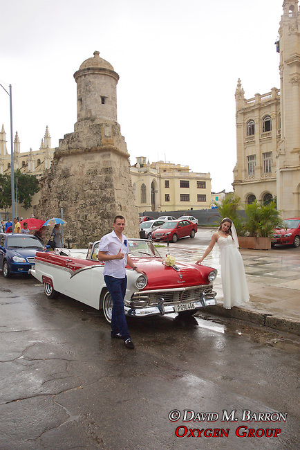 Wedding Couple Posing With Old American Car