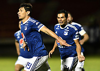TUNJA -COLOMBIA, 29-07-2018. Roberto Ovelar jugador de Millonarios celebra después de anotar el segundo gol de su equipo a Patriotas Boyacá durante partido por la fecha 2 de la Liga Águila II 2018 realizado en el estadio La Independencia de Tunja. / Roberto Ovelar player of Millonarios celebrates after scoring the second goal of his team to Patriotas Boyaca during match for the date 2 of Aguila League II 2018 played at La Independencia stadium in Tunja. Photo: VizzorImage/ Gabriel Aponte / Staff