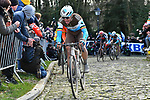 Oliver Naesen (BEL) AG2R La Mondiale climbs the Muur van Geraardsbergen during Omloop Het Nieuwsblad 2020, Belgium. 29th February 2020.<br /> Picture: Serge Waldbillig/cyclingpix.lu | Cyclefile<br /> <br /> All photos usage must carry mandatory copyright credit (© Cyclefile | cyclingpix.lu/Serge Waldbillig)