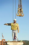 Market Street Bridge construction, Williamsport, PA. Worker on hoist.