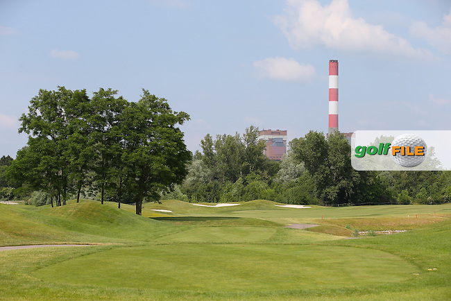 View down the 1st fairway during the practice day ahead of the 2015 Lyoness Open powered by Greenfinity at the Diamond Country Club, Atzenbrugg, Vienna, Austria. 09/06/2015. Picture: Golffile | David Lloyd<br /> <br /> All photos usage must carry mandatory copyright credit (&copy; Golffile | David Lloyd)