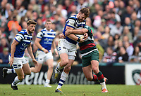 Max Wright of Bath Rugby takes on the Leicester Tigers defence. Gallagher Premiership match, between Leicester Tigers and Bath Rugby on May 18, 2019 at Welford Road in Leicester, England. Photo by: Patrick Khachfe / Onside Images