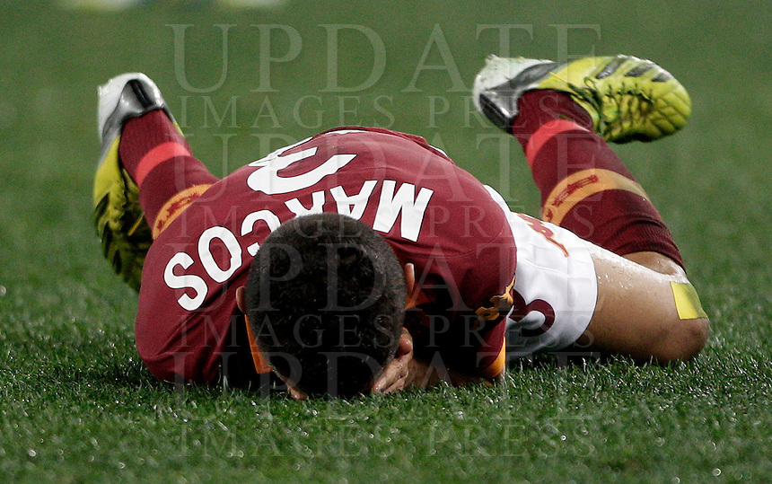 Calcio, semifinale di andata di Coppa Italia: Roma vs Inter. Roma, stadio Olimpico, 23 gennaio 2013..AS Roma defender Marquinhos, of Brazil, reacts after being injured during the Italy Cup football semifinal first half match between AS Roma and FC Inter at Rome's Olympic stadium, 23 January 2013..UPDATE IMAGES PRESS/Riccardo De Luca