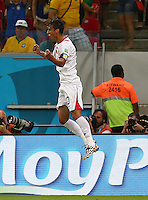 Bryan Ruiz of Costa Rica celebrates scoring his goal to make the score 1-0