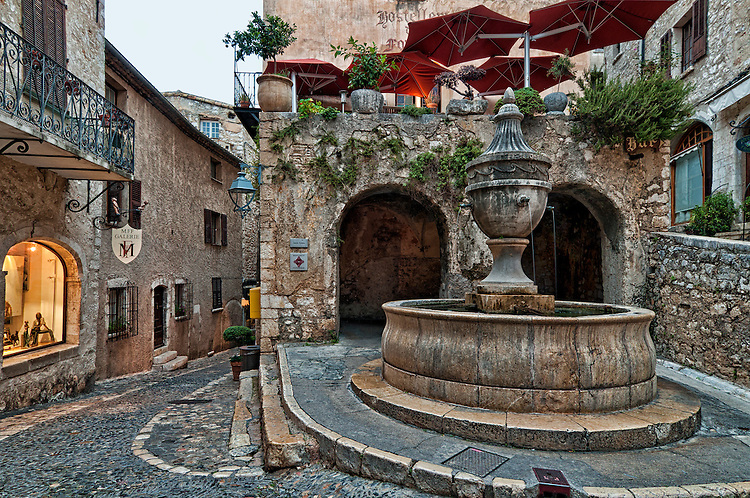 The Place de la Grande Fontaine, Saint-Paul-de-Vence, in an early morning view.