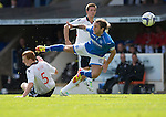 St Johnstone v Ross County...17.08.13 SPFL<br /> Stevie May is taken out by Scott Boyd<br /> Picture by Graeme Hart.<br /> Copyright Perthshire Picture Agency<br /> Tel: 01738 623350  Mobile: 07990 594431