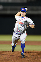 St. Lucie Mets pitcher Seth Lugo (36) delivers a pitch during a game against the Fort Myers Miracle on April 18, 2014 at Hammond Stadium in Fort Myers, Florida.  St. Lucie defeated Fort Myers 15-9.  (Mike Janes/Four Seam Images)