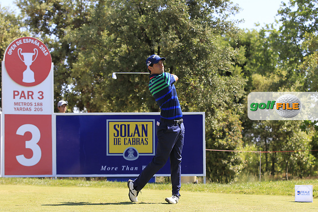 Matteo Manassero (ITA) on the 3rd tee during Round 2 of the Open de Espana  in Club de Golf el Prat, Barcelona on Friday 15th May 2015.<br /> Picture:  Thos Caffrey / www.golffile.ie