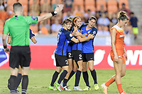 Houston, TX - Sunday August 13, 2017: Becca Moros, Shea Groom, and Brittany Taylor during a regular season National Women's Soccer League (NWSL) match between the Houston Dash and FC Kansas City at BBVA Compass Stadium.