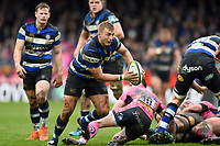 Jack Walker of Bath Rugby in possession. Anglo-Welsh Cup Final, between Bath Rugby and Exeter Chiefs on March 30, 2018 at Kingsholm Stadium in Gloucester, England. Photo by: Patrick Khachfe / Onside Images