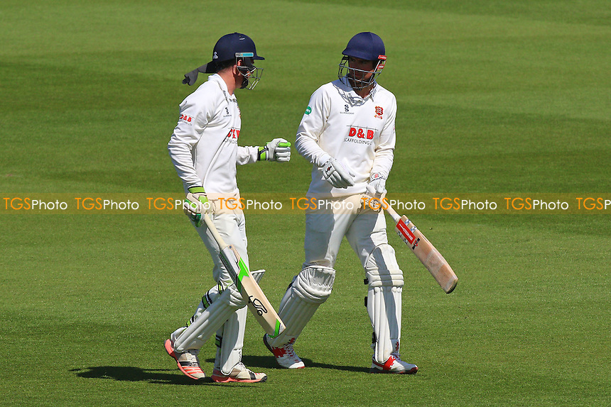 Daniel Lawrence (L) and Alastair Cook walk out to bat for Essex after lunch during Sussex CCC vs Essex CCC, Specsavers County Championship Division 2 Cricket at The 1st Central County Ground on 20th April 2016
