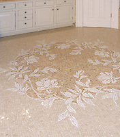 Custom Peony floor marble mosaic in Thassos, Botticino, and Breccia Oniciata