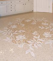 Custom Peony floor marble mosaic in Thassos, Botticino, and Breccia Oniciata