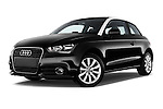 Low aggressive front three quarter view of a 2014 Audi A1 Ambition 3 Door Hatchback 2WD