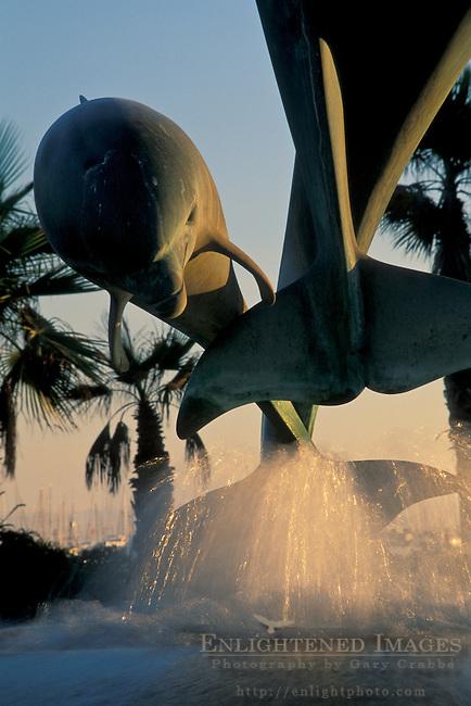Dolphin Friendship Statue water fountain at the base of Stearns Wharf, Santa Barbara, California