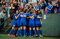 Seattle, WA - Saturday, July 1, 2017:  Seattle Reign FC during a regular season National Women's Soccer League (NWSL) match between the Seattle Reign FC and the Portland Thorns FC at Memorial Stadium.