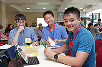 New York, NY, USA - June 24-25, 2017: OrigamiUSA 2017 Convention at St. John's University, Queens, New York, USA. Friends meet in the hospitality hall and fold together.