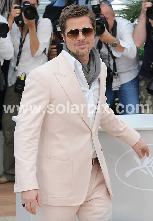 **ALL ROUND PICTURES FROM SOLARPIX.COM**.**WORLDWIDE SYNDICATION RIGHTS**.photocall of Inglourious Basterds at the 62nd Cannes Film Festival in Cannes, France. 20 May 2009..This pic: Brad Pitt..JOB REF: 9129 SSD     DATE: 20_05_2009.**MUST CREDIT SOLARPIX.COM OR DOUBLE FEE WILL BE CHARGED**.**ONLINE USAGE FEE GBP 50.00 PER PICTURE - NOTIFICATION OF USAGE TO PHOTO @ SOLARPIX.COM**.**CALL SOLARPIX : +34 952 811 768 or LOW RATE FROM UK 0844 617 7637**