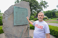 HAZLETON, PA - JUNE 30:  Dr. Paul Shackel speaks at the site of an archaeologic dig June 30, 2014 in Hazleton, Pennsylvania. The team is looking through sites connected with the Lattimer Massacre which occurred in 1897. (Photo by William Thomas Cain/Cain Images)