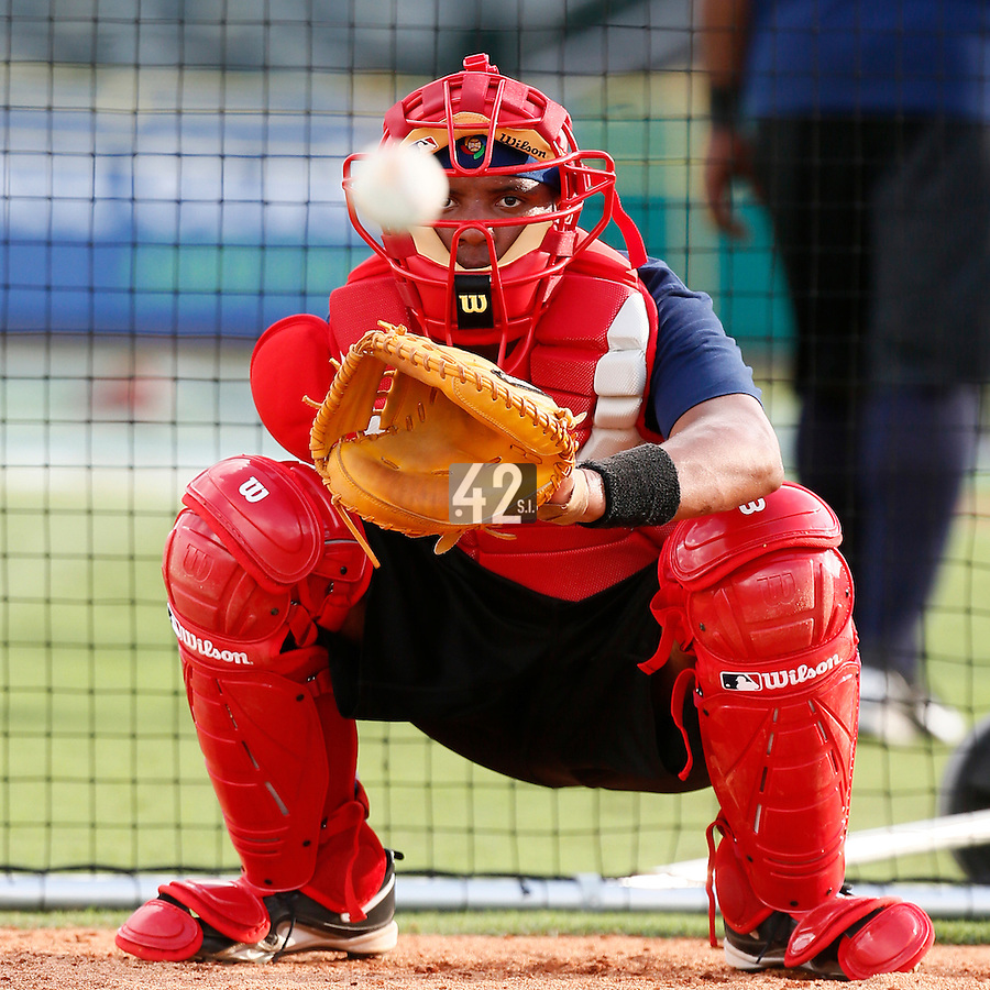 18 September 2012: France Andy Paz is seen catching bullpen pitches during Team France practice, at the 2012 World Baseball Classic Qualifier round, in Jupiter, Florida, USA.