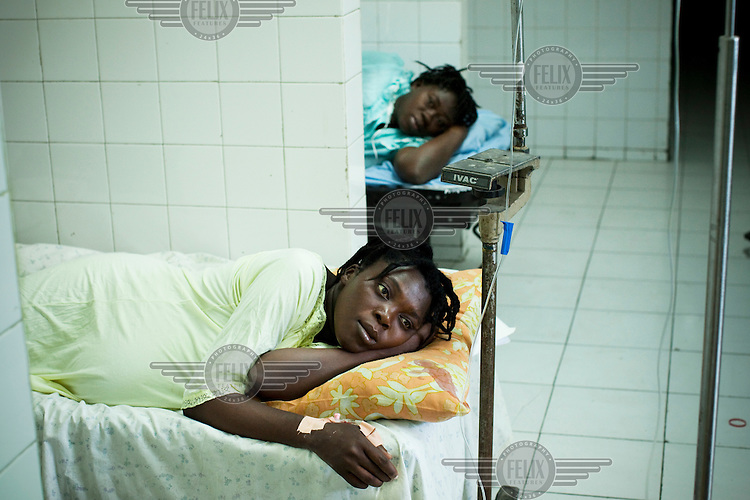 Women rest in the maternity ward of Chancerelle hospital, where Medecins Sans Frontieres (MSF) are treating people injured when an earthquake hit the country. Many woman have have had miscaraiges due to post traumatic stress. A 7.0 magnitude earthquake struck Haiti on 12/01/2010. Early reports indicated that more than 100,000 may have been killed and three million affected.