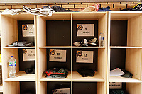 Pictured: The players' storage area. Thursday 18 January 2018<br /> Re: Players and staff of Newport County Football Club prepare at Newport Stadium, for their FA Cup game against Tottenham Hotspur in Wales, UK