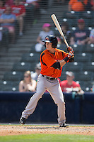 Mike Yastrzemski (4) of the Bowie Baysox at bat against the Richmond Flying Squirrels at The Diamond on May 24, 2015 in Richmond, Virginia.  The Flying Squirrels defeated the Baysox 5-2.  (Brian Westerholt/Four Seam Images)