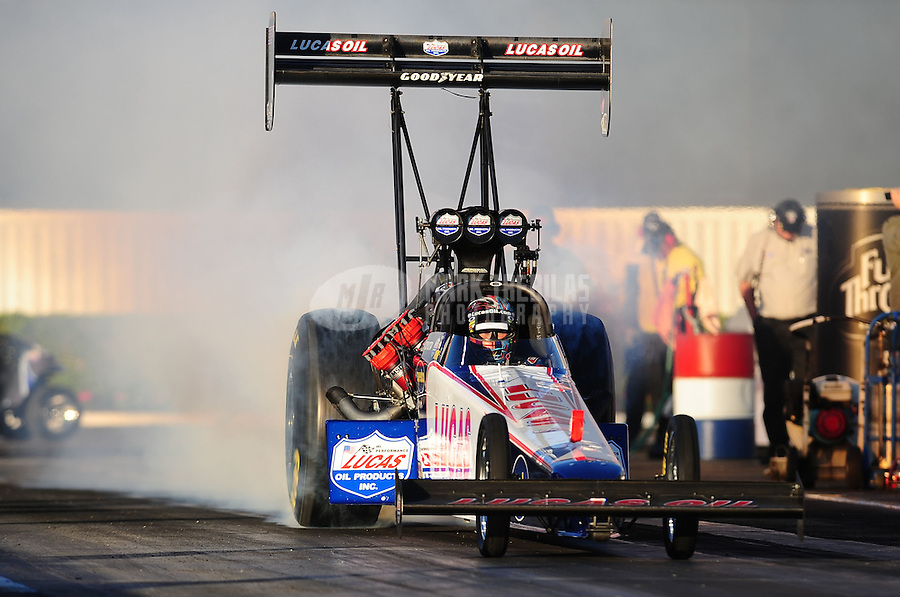 Nov 11, 2010; Pomona, CA, USA; NHRA top fuel dragster driver Shawn Langdon during qualifying for the Auto Club Finals at Auto Club Raceway at Pomona. Mandatory Credit: Mark J. Rebilas-