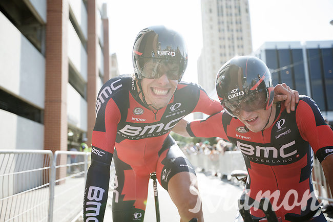 Winners are grinners: Daniel Oss (ITA/BMC) & Rohan Dennis (AUS/BMC) succeed in becoming TTT World Champions for a 2nd time with Team BMC<br /> <br /> Elite Men's Team Time Trial<br /> UCI Road World  Championships Richmond 2015