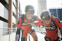 Winners are grinners: Daniel Oss (ITA/BMC) &amp; Rohan Dennis (AUS/BMC) succeed in becoming TTT World Champions for a 2nd time with Team BMC<br /> <br /> Elite Men&rsquo;s Team Time Trial<br /> UCI Road World  Championships Richmond 2015