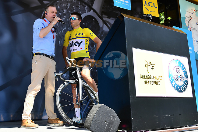 New race leader Gianni Moscon (ITA) Team Sky interviewed on the podium at sign on for Stage 5 of the 2018 Criterium du Dauphine 2018 running 130km from Grenoble to Valmorel, France. 8th June 2018.<br /> Picture: ASO/Alex Broadway   Cyclefile<br /> <br /> <br /> All photos usage must carry mandatory copyright credit (© Cyclefile   ASO/Alex Broadway)